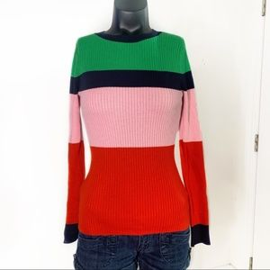 1901 Back Button Crewneck Colorblock Sweater